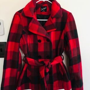 Buffalo plaid jacket with tied waist